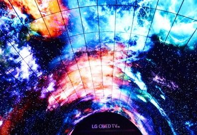 A picture of the LG OLED Tunnel displaying shots taken from space at IFA 2016