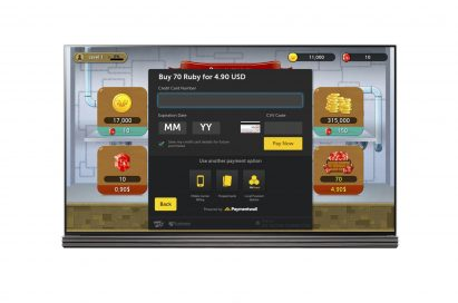 A screenshot of the payment option page on the LG Smart TV platform