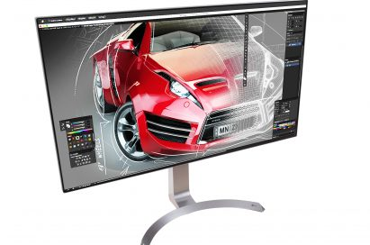 Above view of LG's HDR-compatible 32-inch UHD 4K monitor rotated 10 degrees to the right