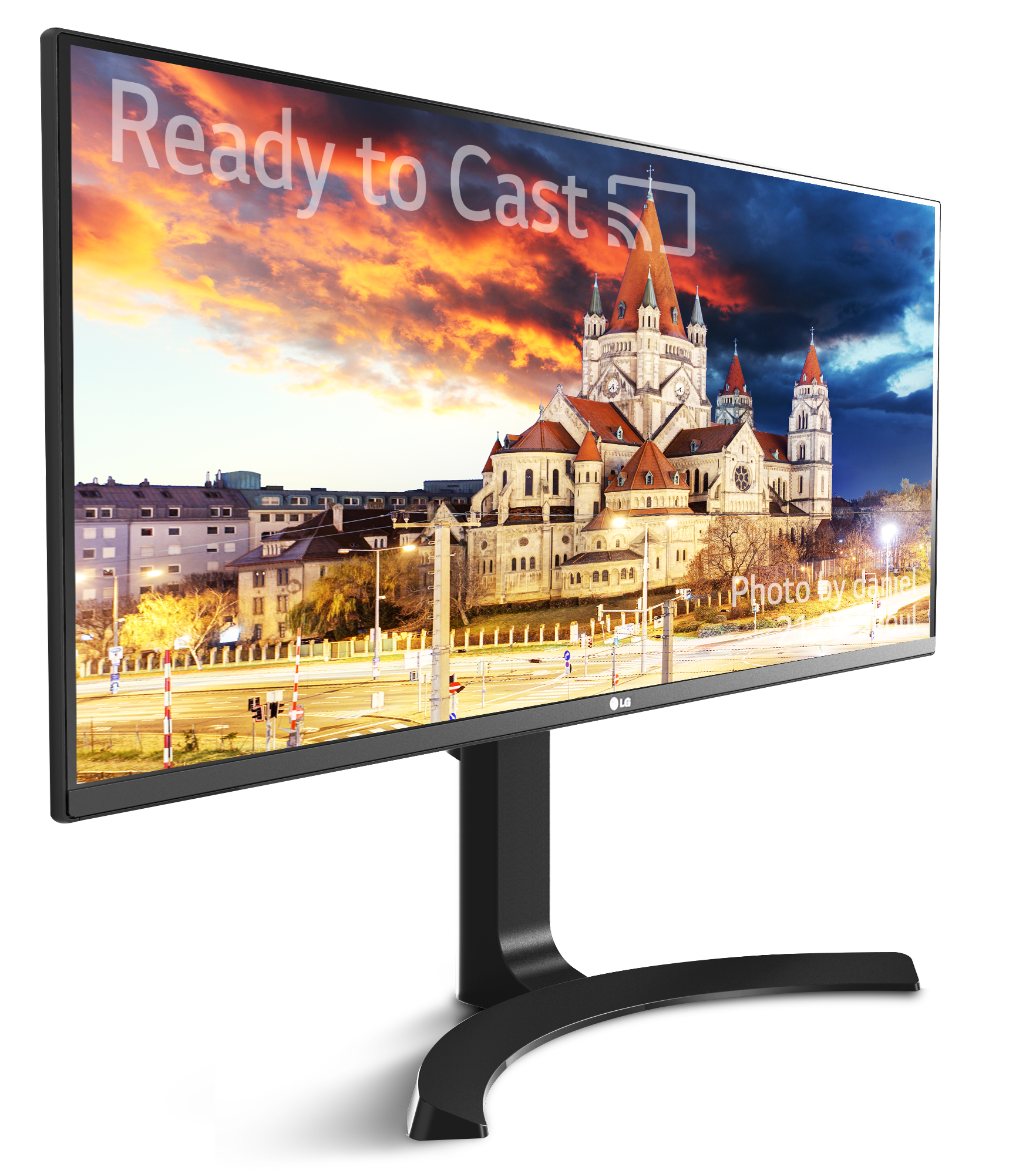 Front view of the LG 21:9 ULTRAWIDE MOBILE+ MONITOR facing 20 degrees to the right