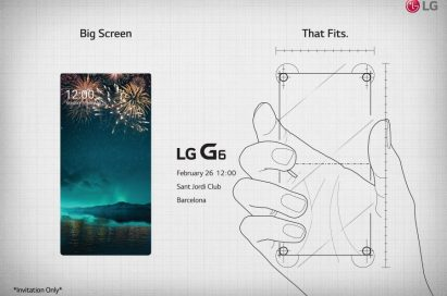 """The LG G6 Press Event invitation, to be held at Barcelona's Saint Jordi Club on February 26th, 2017 at 12:00pm, with the phrase """"Big Screen That Fits"""" across the top"""