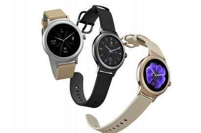 The front and side view of the LG Watch Style in Rose Gold, Titanium and Silver