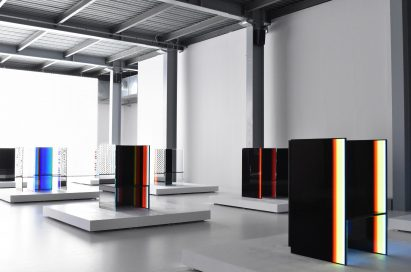 A side view of three installations found inside Tokujin Yoshioka's art exhibition, equipped with LG's OLED displays to showcase the technology's black levels