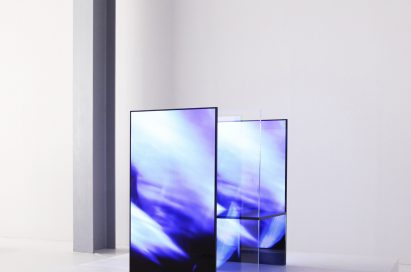 A side view of one of the installations inside Tokujin Yoshioka's creation, equipped with LG's OLED displays to showcase vivid colors and artwork to visitors