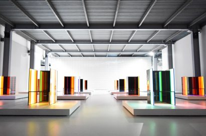 A front, wide-angle view of Tokujin Yoshioka's art exhibition which boasts LG's OLED technology to express bight colors and artwork to visitors