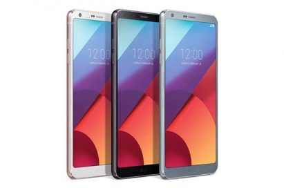 Three LG G6 smartphones in white, black and silver color variations