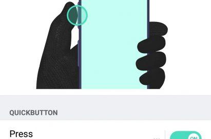 A screenshot of the LG X venture's QuickButton customization setting