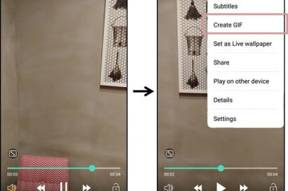 Series of two screenshots of LG G6 display showing how to make GIF files from a video clip
