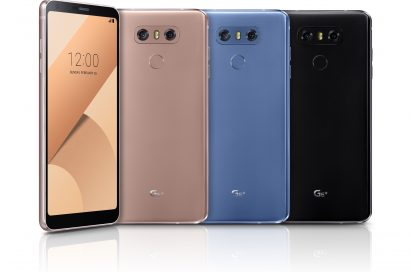 The front and back view of the LG G6+ in Optical Terra Gold, Optical Marine Blue and Optical Astro Black, side-by-side