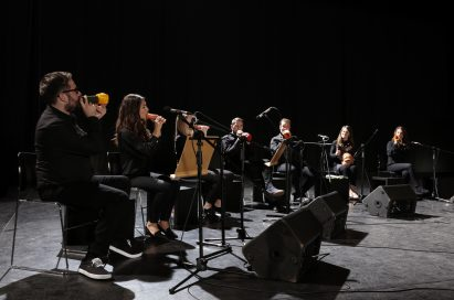 The London Vegetable Orchestra perform music using their creative vegetable instruments.