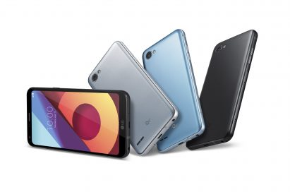 The front and back view of the LG Q6+ in Astro Black, Ice Platinum and Marine Blue