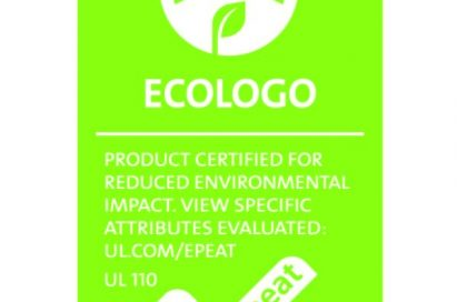 The ECOLOGO Certification to the ANSI-accredited UL 110 Standard for Sustainability for Mobile Phones.
