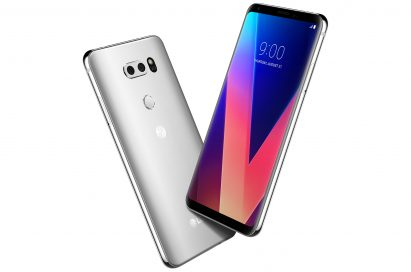 The front and rear view of the LG V30 in Cloud Silver