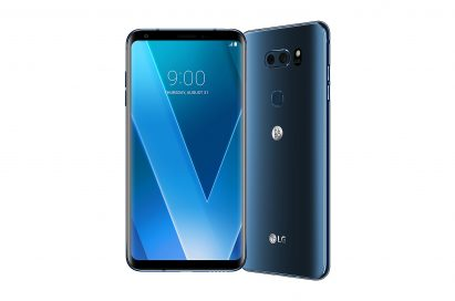 The front and rear view of the LG V30 in Moroccan Blue