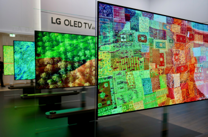 Several LG SIGNATURE OLED TV W television sets on display at LG's booth during IFA 2017