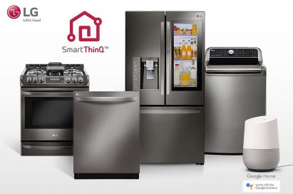 LG smart appliances lineup including refrigerator, top-load washing machine, oven and dishwasher with the SmartThinQ™ logo on the upper left. Google Home, an AI speaker with Google Assistant standing along with LG smart appliances.