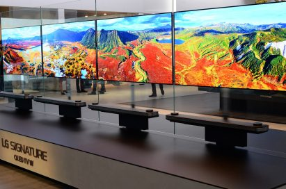 Four LG SIGNATURE OLED TV Ws displaying optimized colors on show at IFA 2017