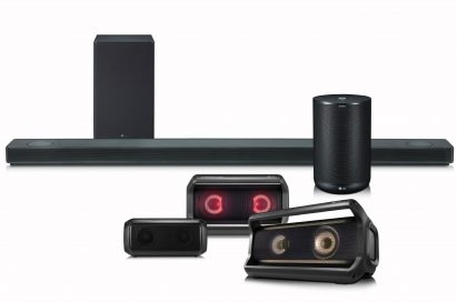 The LG Speaker Lineup including its SoundBar, Portable speaker and ThinQ Speaker