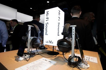 A display highlighting the Hi-Fi sound of the LG V30 smartphone, with plenty of V30s connected to headphones available for visitors to try out
