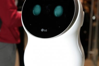 A closeup of the LG CLOi Hub Robot's front
