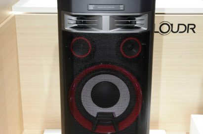 Front view of LG's LOUDR Party speaker system OK99