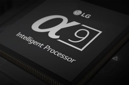 Closeup of the LG Alpha 9 Intelligent Processor fitted into an LG ThinQ AI TV circuit board