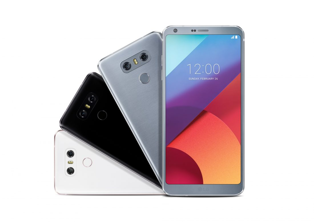 Front view of an LG G6 smartphone and rear view of three LG G6 phones to show three color options
