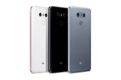 Rear view of three LG G6 phones showing three color options