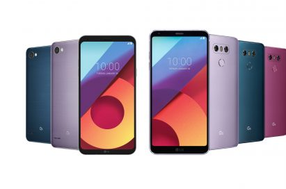 Front and rear view of the LG Q6 in Moroccan Blue and Lavender Violet and LG G6 in Lavender Violet, Moroccan Blue and Raspberry Rose
