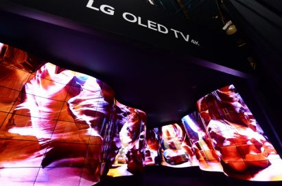 Entrance view of the LG OLED Canyon where beautiful desert scenes are displayed on a winding passage of connected OLED panels