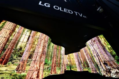 A wide-angled shot of the LG OLED Canyon at CES 2018