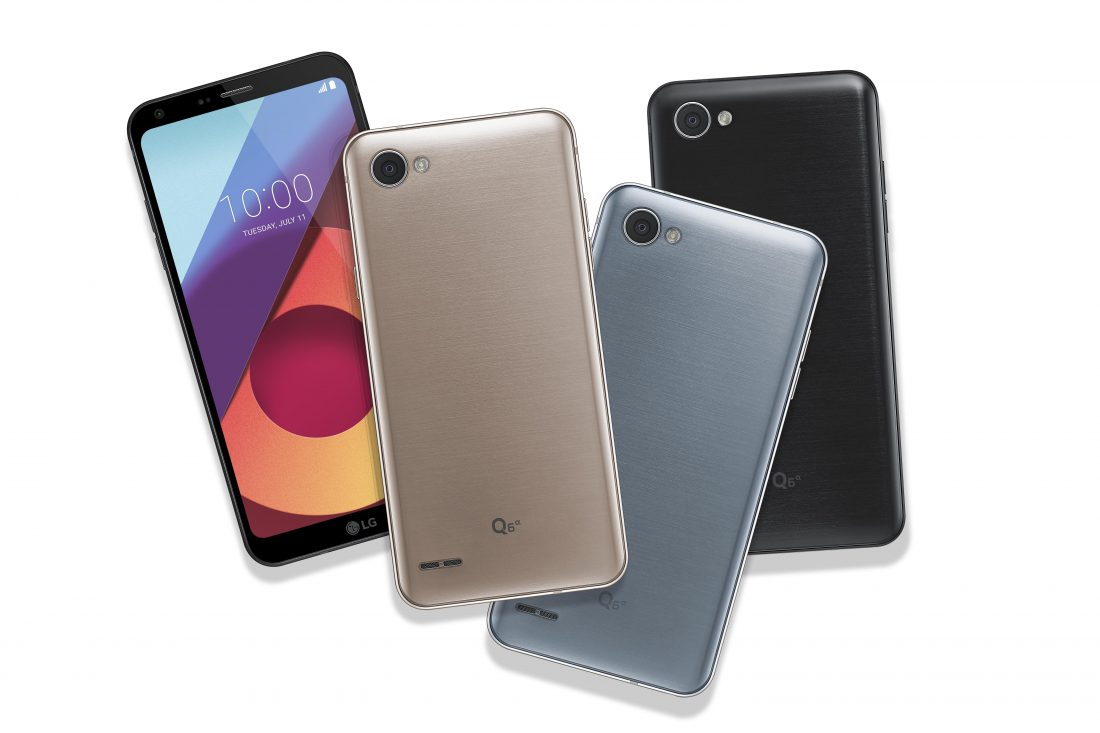 Another image of front and rear view of four LG Q6a phones to show color options