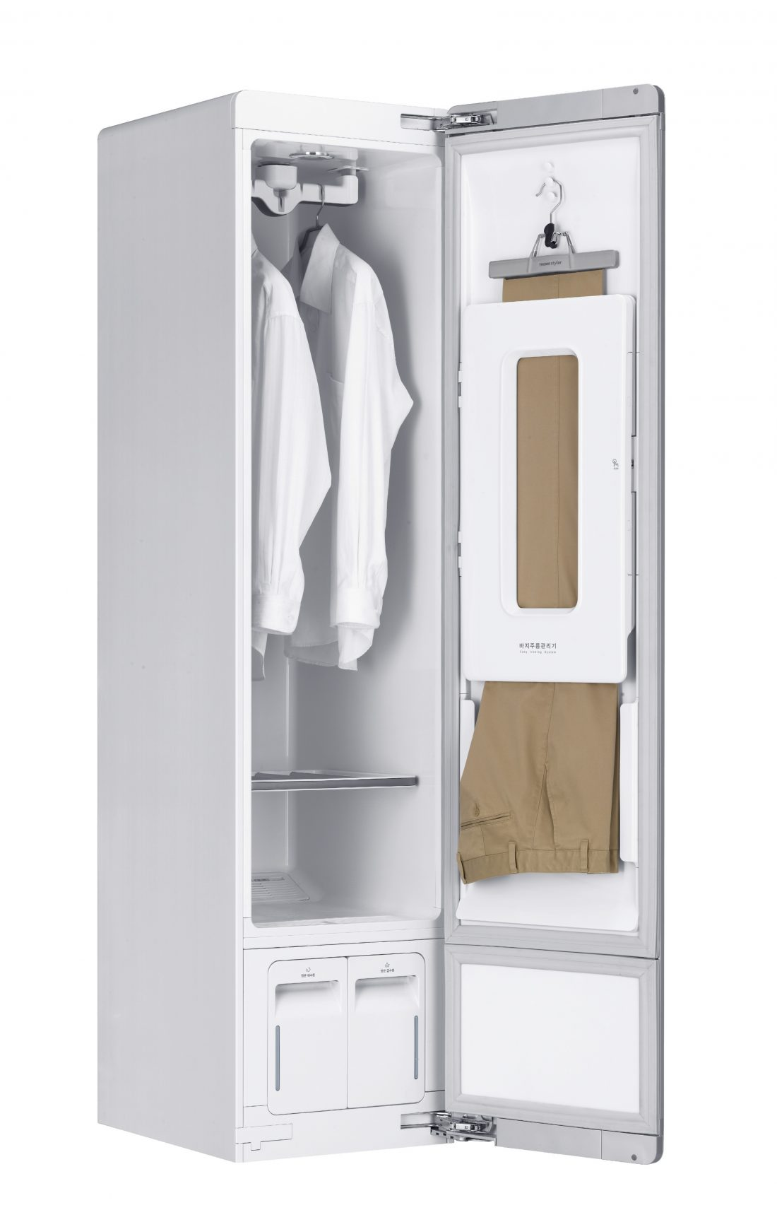 The LG Styler steam closet system facing 45 degrees to the right with the door open