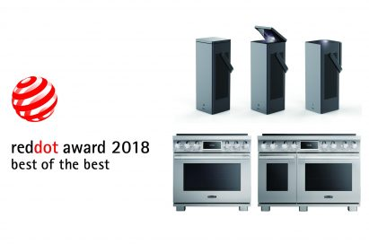 Logo of 'reddot award 2018 best of the best' with LG's CineBeam 4K Lasers and SIGNATURE KITCHEN SUITE Pro range