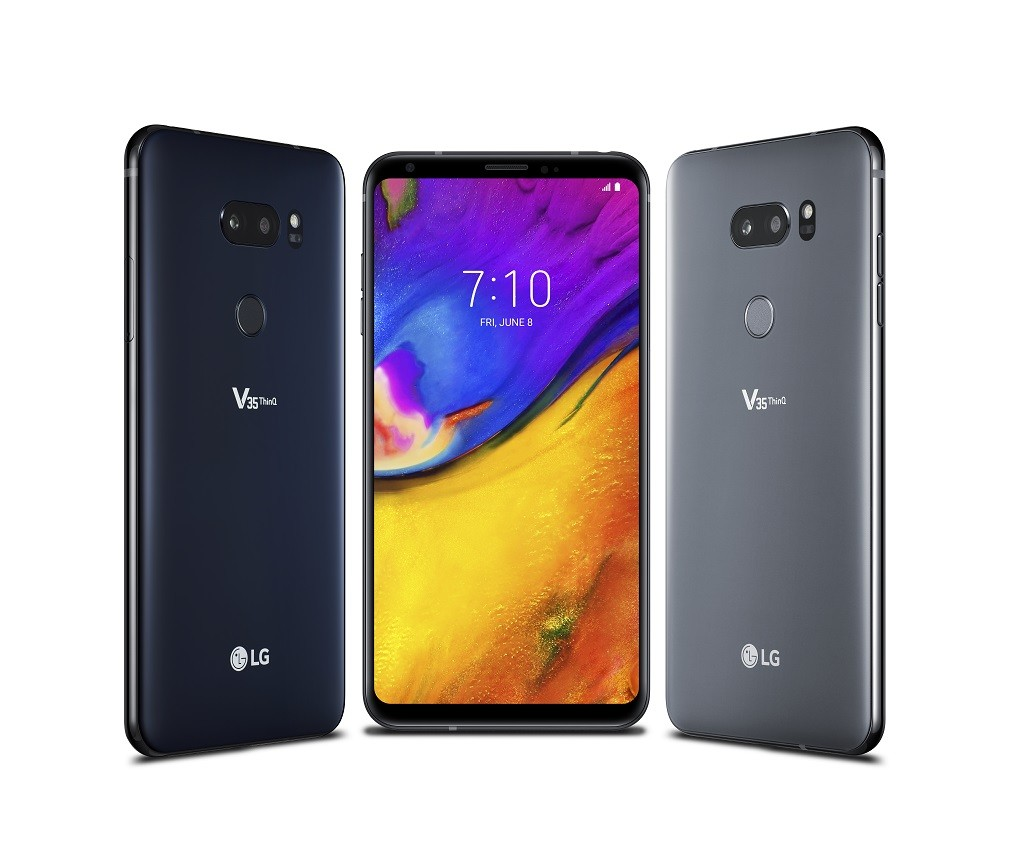The front and back view of the LG V35 ThinQ in New Aurora Black and New Platinum Gray