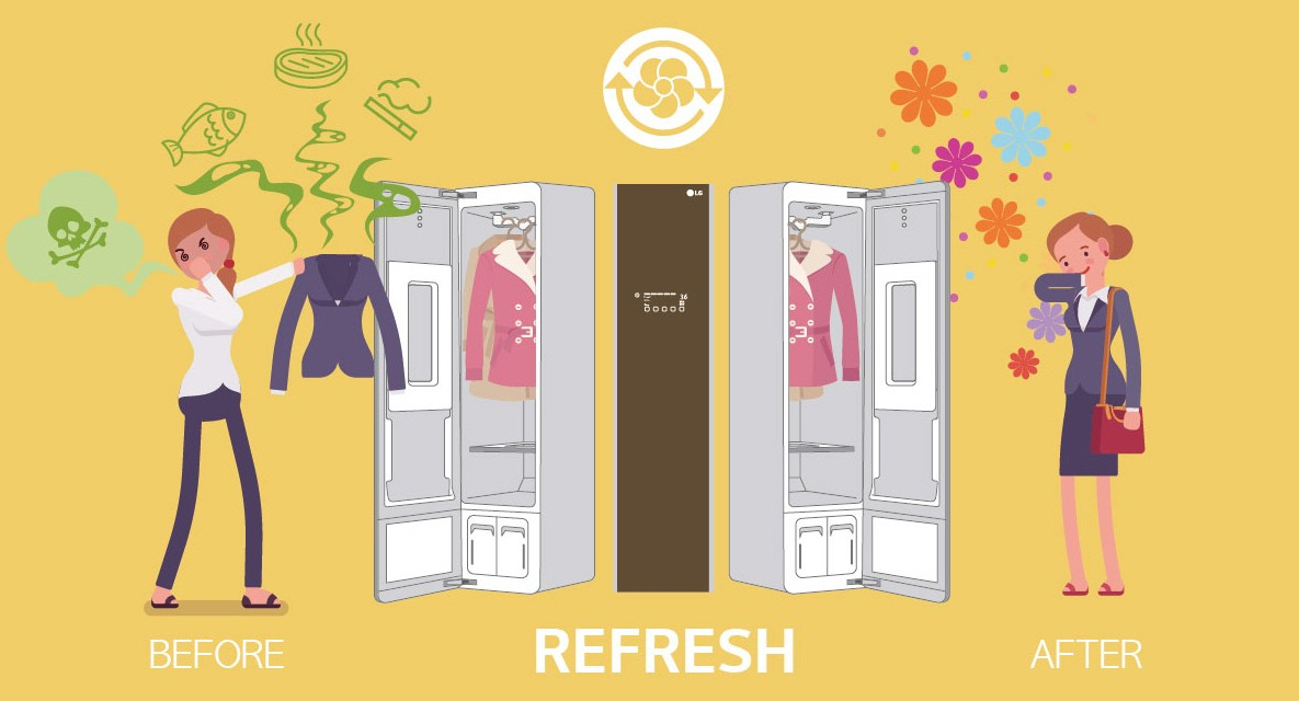 The infographic shows the LG Styler removes the unpleasant odors from the daily outfits of a lady by using the Steam technology.