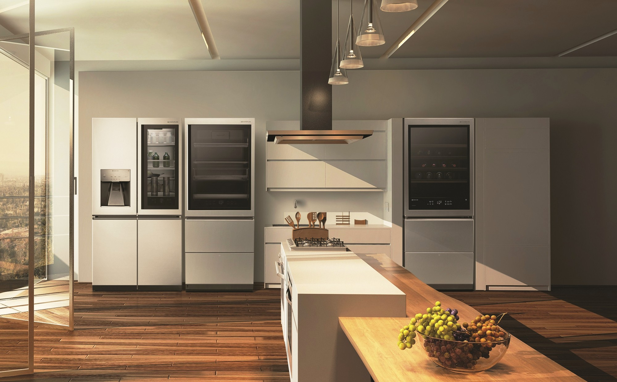 LG SIGNATURE Side-by-Side refrigerator, bottom-freezer refrigerator and wine cellar placed inside a modern kitchen.