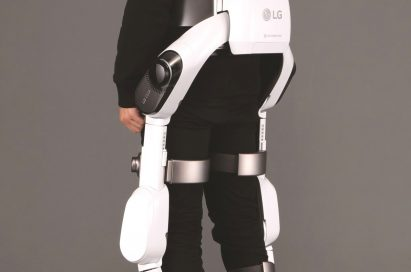 Rear view of man wearing LG CLOi SuitBot