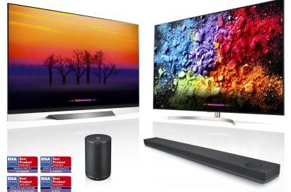 LG's AI ThinQ-enabled products including OLED TV, LG SUPER UHD TV, LG XBOOM and LG Soundbar above four EISA AWARD logos