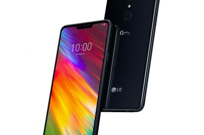The front and rear view of the LG G7+ Fit in New Aurora Black