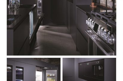 Collage of 4 individual photos showing the hallway between the counter and oven induction cooktop, the refrigerator and wine cellar, the wall oven, and cooktop control panel