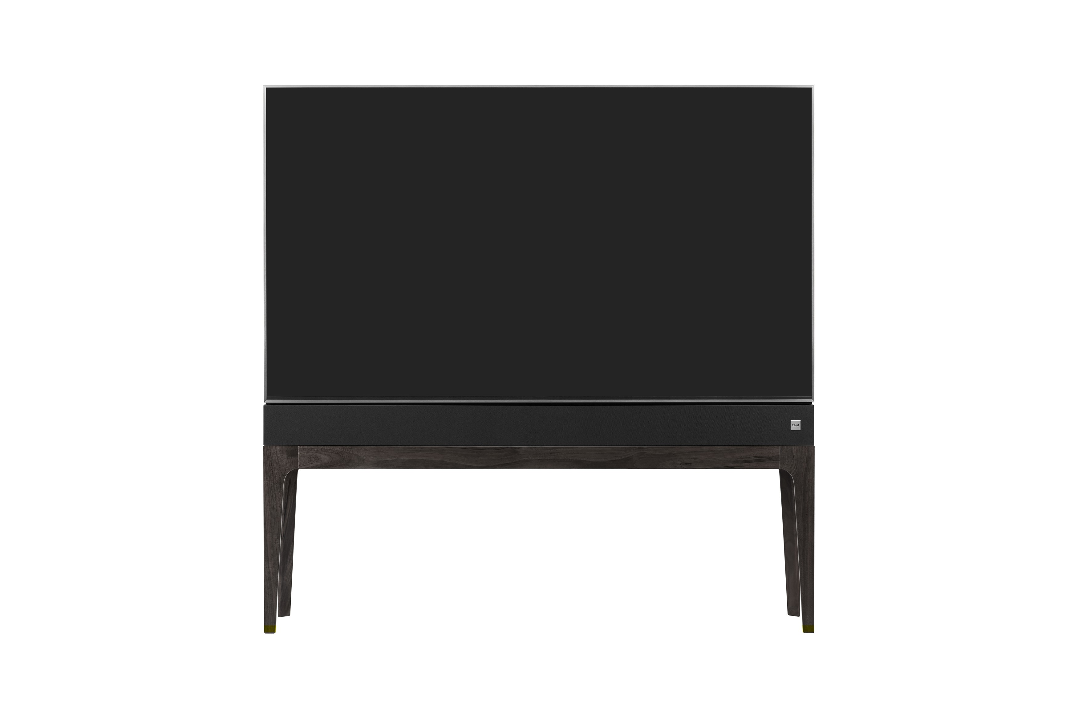 Front view of LG OBJET TV, which is built into a slender cabinet with wooden legs