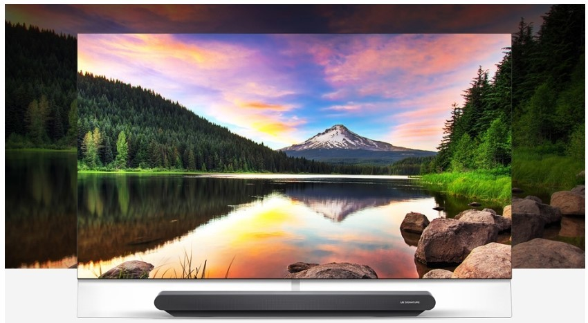 A concept image which shows LG OLED TV's screen displaying the natural scenery is put right in front of its real location