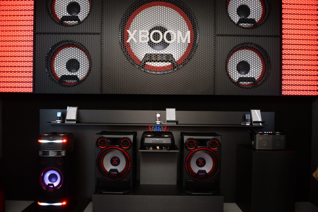 The LG XBOOM display zone with every product in the lineup