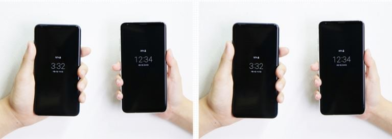 Two photos show the 2:1 display ratio of LG V30 ThinQ on the left and the 2.1:1 ratio of LG V40 ThinQ on the right respectively.