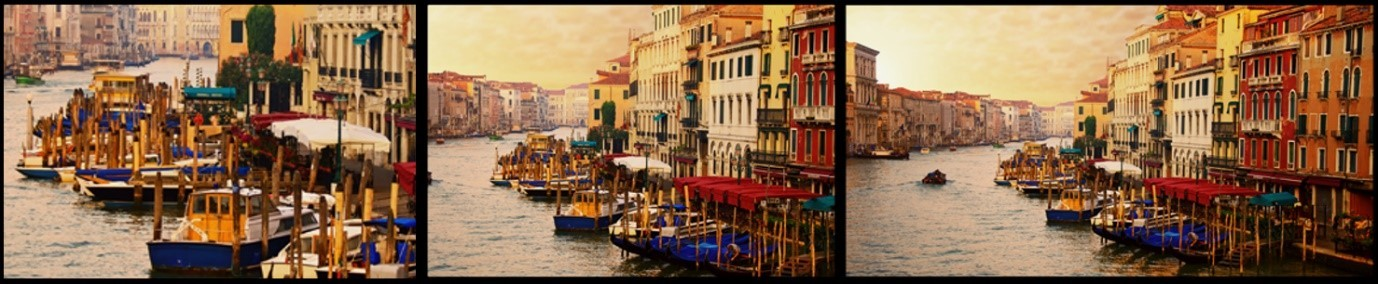 Three photos of a Venice canal that are taken at three different angles simultaneously using LG's Triple Shot feature