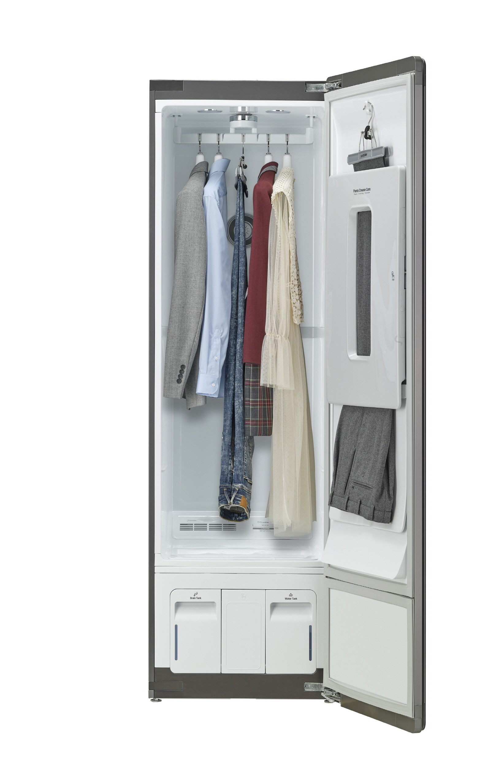 LG Styler with Black Tinted Mirror Glass Door wide open to show women's dress, shirt and jackets hanging inside