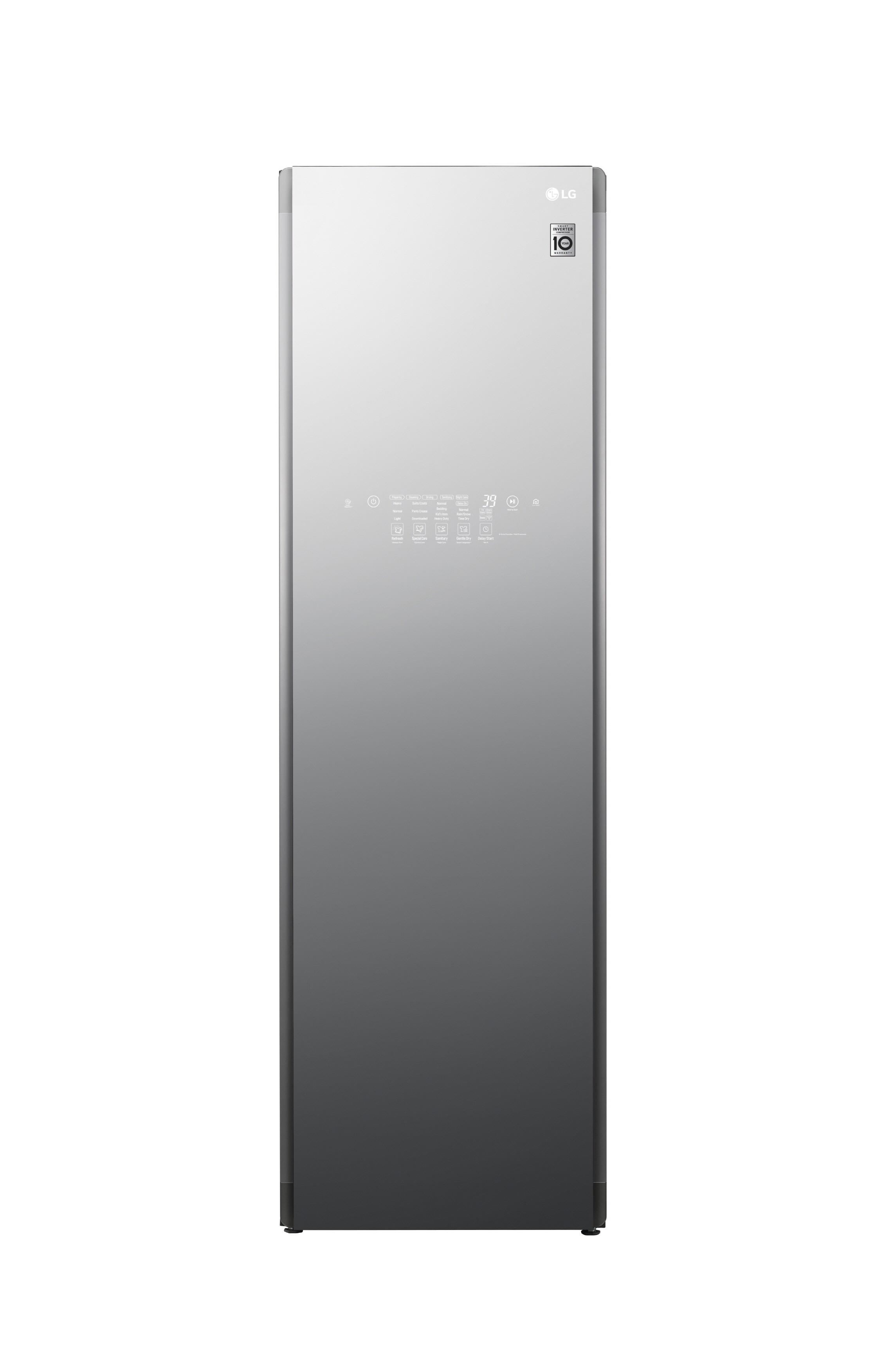 Front view of LG Styler Black Tinted Mirror Glass Door with 5 hangers
