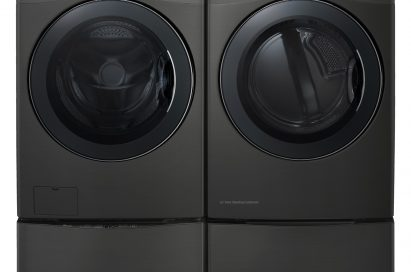 Front view of LG TWINWash™ washing machine and dryer in black