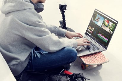 A man editing a video with LG gram